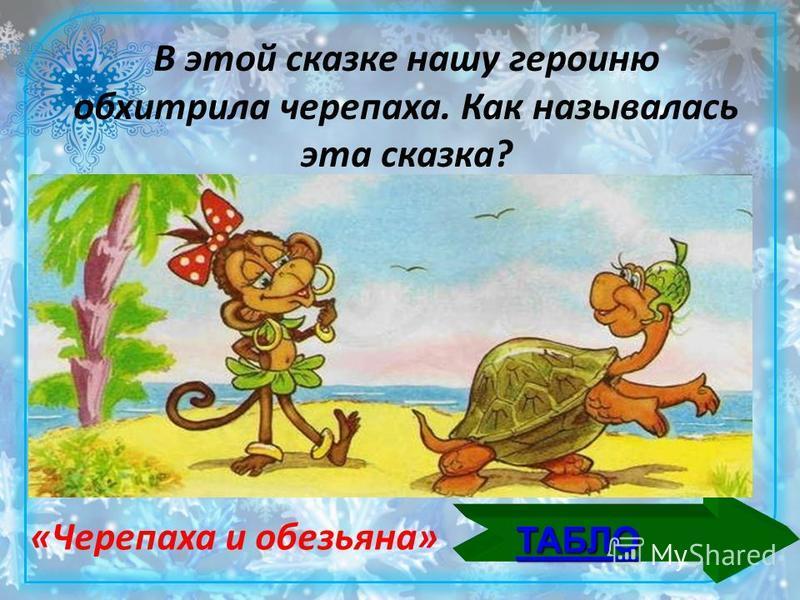 ТАБЛО В этой сказке нашу героиню обхитрила черепаха. Как называлась эта сказка? «Черепаха и обезьяна»