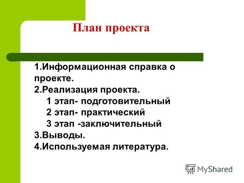 План проекта 1. Информационная справка о проекте. 2. Реализация проекта. 1 этап- подготовительный 2 этап- практический 3 этап -заключительный 3.Выводы. 4. Используемая литература.