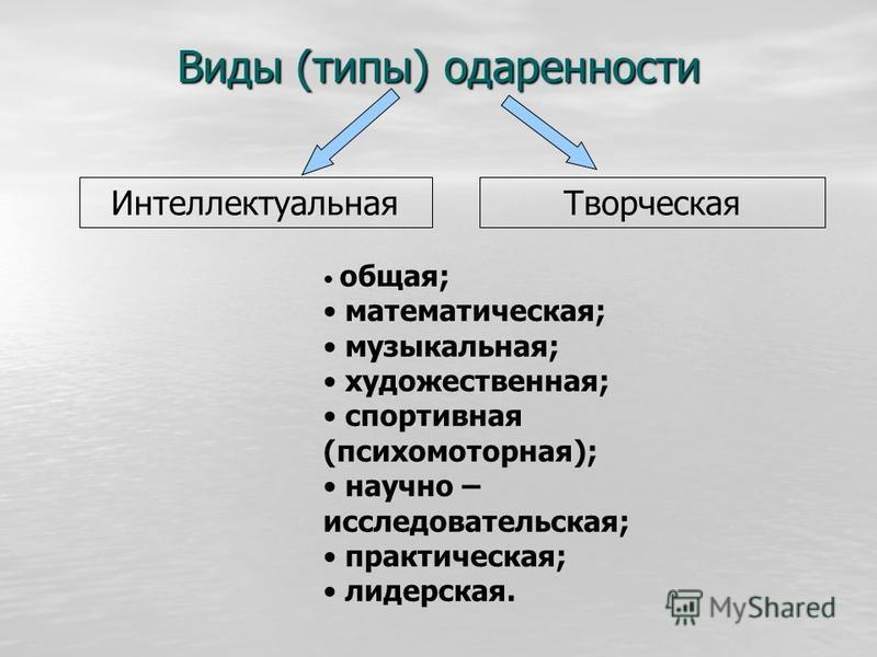 Виды (типы) одаренности Интеллектуальная Творческая общая; математическая; музыкальная; художественная; спортивная (психомоторная); научно – исследовательская; практическая; лидерская.