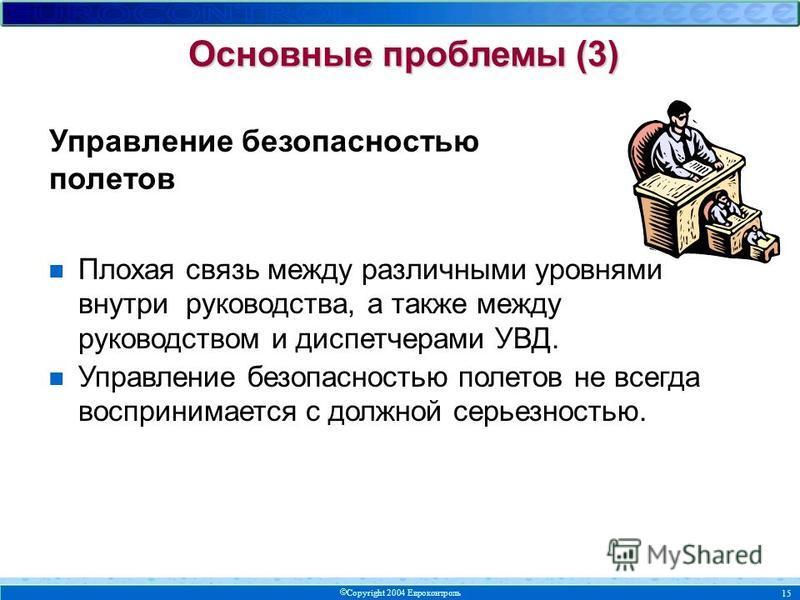 Copyright 2004 Евроконтроль 15 Основные проблемы (3) n Плохая связь между различными уровнями внутри руководства, а также между руководством и диспетчерами УВД. n Управление безопасностью полетов не всегда воспринимается с должной серьезностью. Управ