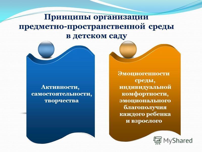 Принципы организации предметно-пространственной среды в детском саду Активности, самостоятельности, творчества Эмоциогенности среды, индивидуальной комфортности, эмоционального благополучия каждого ребенка и взрослого