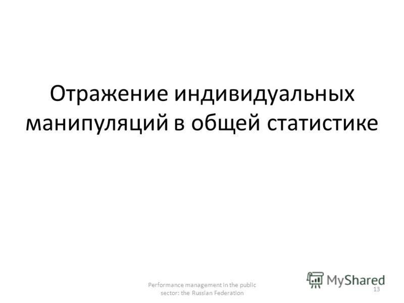 Отражение индивидуальных манипуляций в общей статистике Performance management in the public sector: the Russian Federation 13
