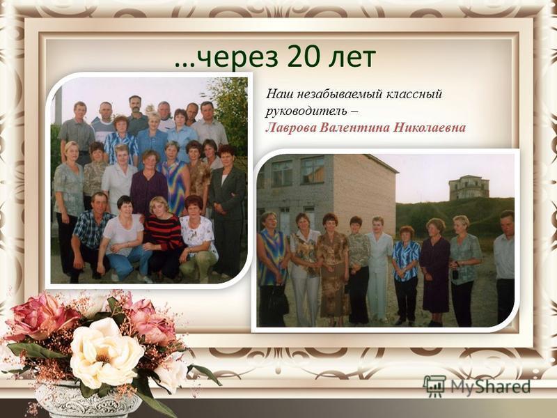 …через 20 лет Наш незабываемый классный руководитель – Лаврова Валентина Николаевна