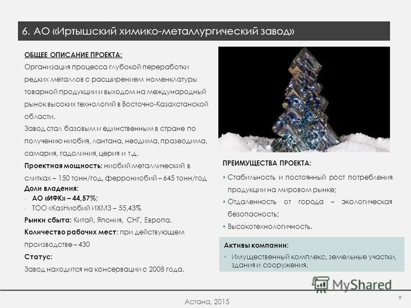 ОБЩЕЕ ОПИСАНИЕ ПРОЕКТА: Организация процесса глубокой переработки редких металлов с расширением номенклатуры товарной продукции и выходом на международный рынок высоких технологий в Восточно-Казахстанской области. Завод стал базовым и единственным в