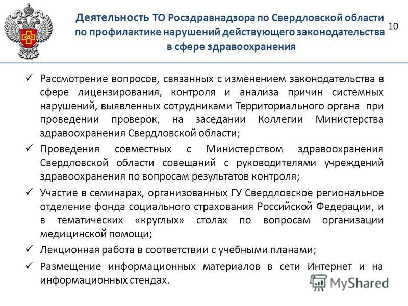 Деятельность ТО Росздравнадзора по Свердловской области по профилактике нарушений действующего законодательства в сфере здравоохранения 10 Рассмотрение вопросов, связанных с изменением законодательства в сфере лицензирования, контроля и анализа причи