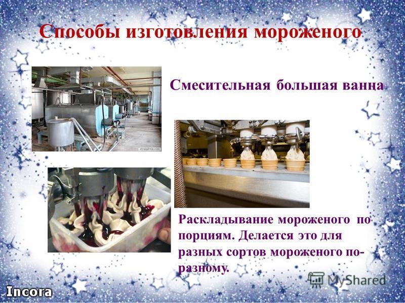 Способы изготовления мороженого Смесительная большая ванна Раскладывание мороженого по порциям. Делается это для разных сортов мороженого по- разному.