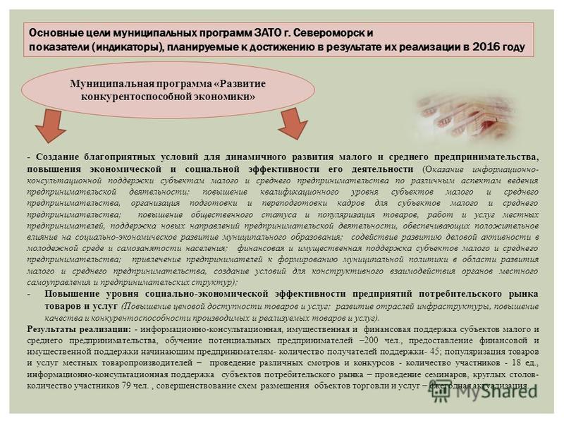 Основные цели муниципальных программ ЗАТО г. Североморск и показатели (индикаторы), планируемые к достижению в результате их реализации в 2016 году Муниципальная программа «Развитие конкурентоспособной экономики» - Создание благоприятных условий для