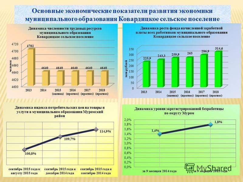 Основные экономические показатели развития экономики муниципального образования Ковардицкое сельское поселение