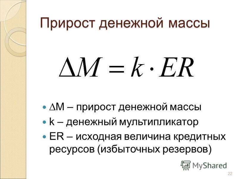 22 Прирост денежной массы М – прирост денежной массы k – денежный мультипликатор ER – исходная величина кредитных ресурсов (избыточных резервов)