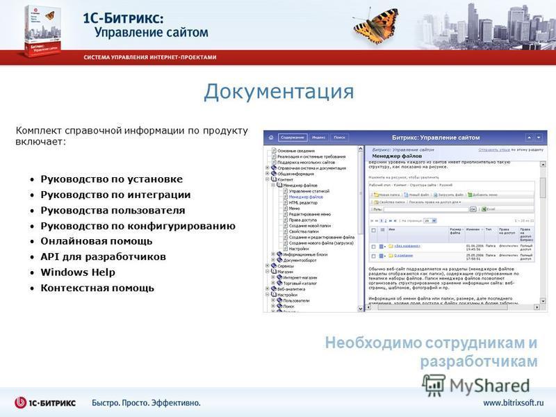 Документация Руководство по установке Руководство по интеграции Руководства пользователя Руководство по конфигурированию Онлайновая помощь API для разработчиков Windows Help Контекстная помощь Необходимо сотрудникам и разработчикам Комплект справочно