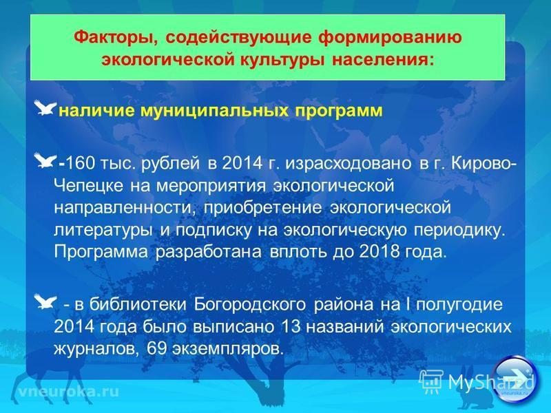наличие муниципальных программ -160 тыс. рублей в 2014 г. израсходовано в г. Кирово- Чепецке на мероприятия экологической направленности, приобретение экологической литературы и подписку на экологическую периодику. Программа разработана вплоть до 201