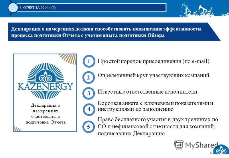 3. ОТЧЕТ ЗА 2014 г. (4) Декларация о намерениях должна способствовать повышению эффективности процесса подготовки Отчета с учетом опыта подготовки Обзора Декларация о намерениях участвовать в подготовке Отчета Простой порядок присоединения (по e-mail