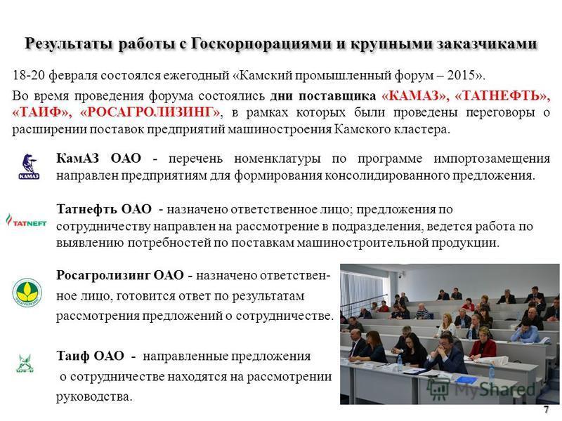 18-20 февраля состоялся ежегодный «Камский промышленный форум – 2015». Во время проведения форума состоялись дни поставщика «КАМАЗ», «ТАТНЕФТЬ», «ТАИФ», «РОСАГРОЛИЗИНГ», в рамках которых были проведены переговоры о расширении поставок предприятий маш