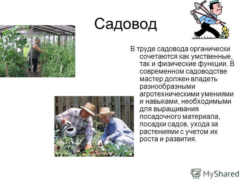 Садовод В труде садовода органически сочетаются как умственные, так и физические функции. В современном садоводстве мастер должен владеть разнообразными агротехническими умениями и навыками, необходимыми для выращивания посадочного материала, посадки