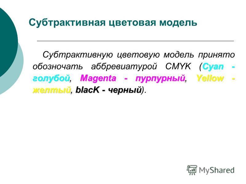 Субтрактивная цветовая модель Cyan - голубой, Magenta - пурпурный, Yellow - желтый, blacK - черный Субтрактивную цветовую модель принято обозначать аббревиатурой CMYK (Cyan - голубой, Magenta - пурпурный, Yellow - желтый, blacK - черный).