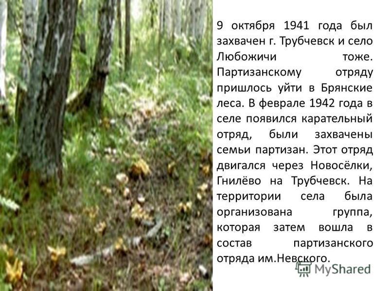9 октября 1941 года был захвачен г. Трубчевск и село Любожичи тоже. Партизанскому отряду пришлось уйти в Брянские леса. В феврале 1942 года в селе появился карательный отряд, были захвачены семьи партизан. Этот отряд двигался через Новосёлки, Гнилёво