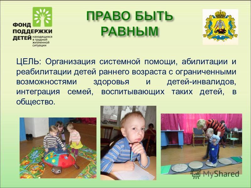 ЦЕЛЬ: Организация системной помощи, реабилитации и ререабилитации детей раннего возраста с ограниченными возможностями здоровья и детей-инвалидов, интеграция семей, воспитывающих таких детей, в общество.