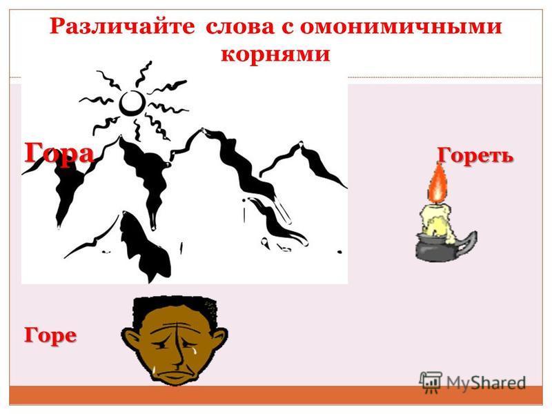 Различайте слова с омонимичными корнями Гора Гореть Горе