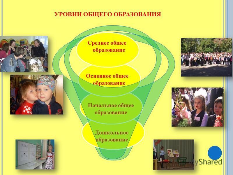 Дошкольное образование Начальное общее образование Основное общее образование Среднее общее образование УРОВНИ ОБЩЕГО ОБРАЗОВАНИЯ