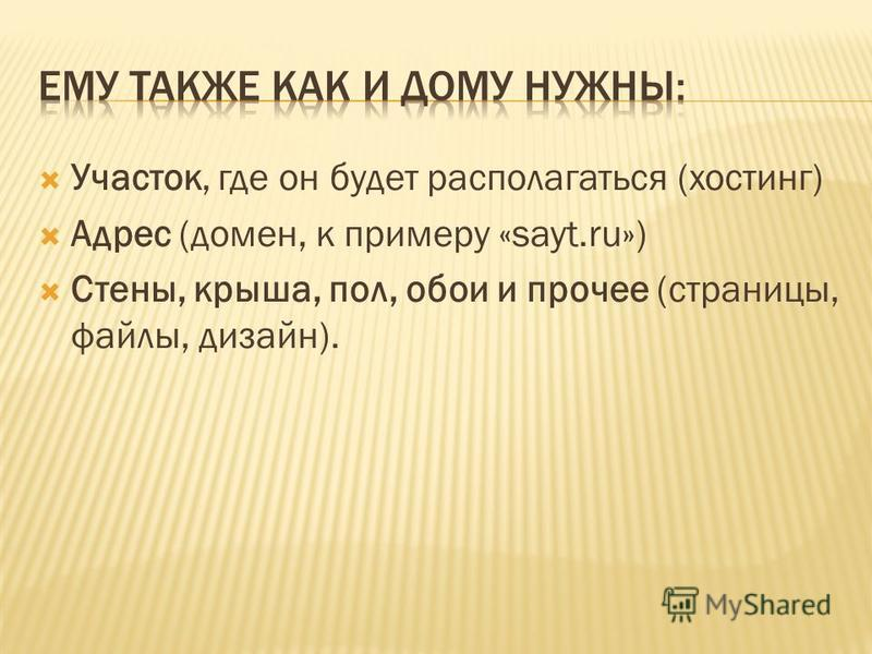 Участок, где он будет располагаться (хостинг) Адрес (домен, к примеру «sayt.ru») Стены, крыша, пол, обои и прочее (страницы, файлы, дизайн).