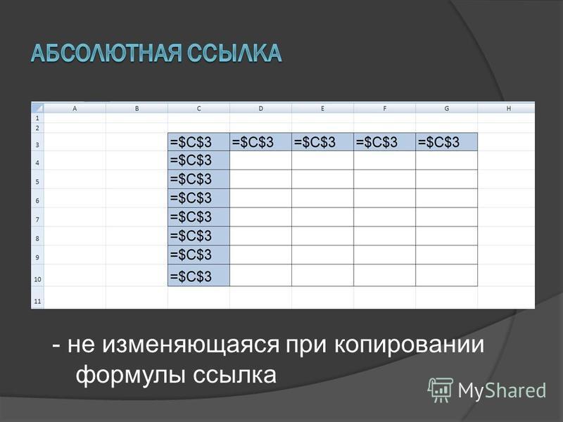 - не изменяющаяся при копировании формулы ссылка