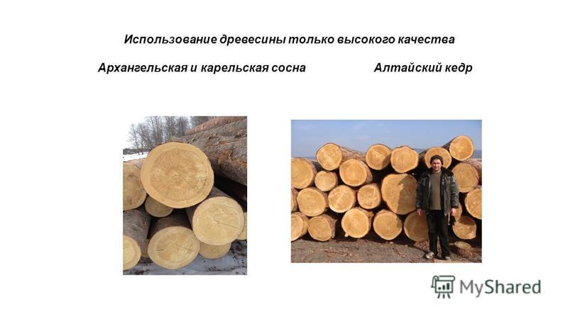 Использование древесины только высокого качества Архангельская и карельская сосна Алтайский кедр