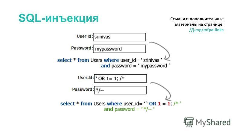 SQL-инъекция Ссылки и дополнительные материалы на странице: //j.mp/mfpa-links