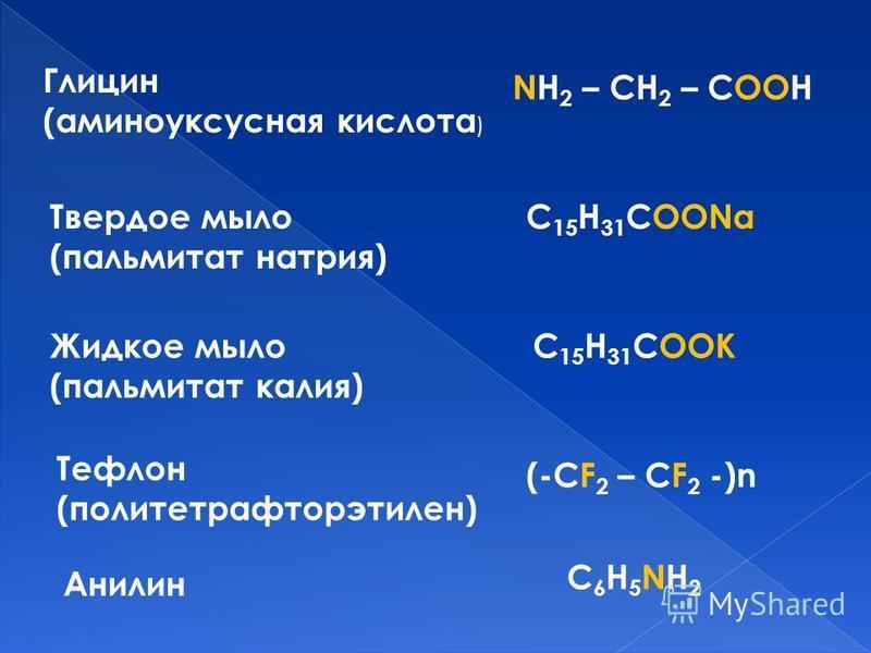 Анилин Глицин (аминоуксусная кислота ) Тефлон (политетрафторэтилен) Твердое мыло (пальмитат натрия) Жидкое мыло (пальмитат калия) NH 2 – CH 2 – COOH C 15 H 31 COONa C 15 H 31 COOK (-CF 2 – CF 2 -)n C6H5NH2C6H5NH2