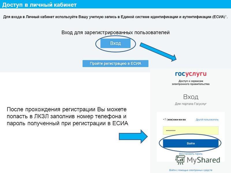 Доступ в личный кабинет После прохождения регистрации Вы можете попасть в ЛКЗЛ заполнив номер телефона и пароль полученный при регистрации в ЕСИА