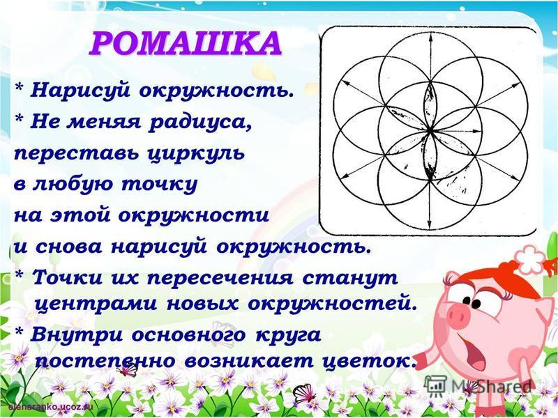 РОМАШКА * Нарисуй окружность. * Не меняя радиуса, переставь циркуль в любую точку на этой окружности и снова нарисуй окружность. * Точки их пересечения станут центрами новых окружностей. * Внутри основного круга постепенно возникает цветок.