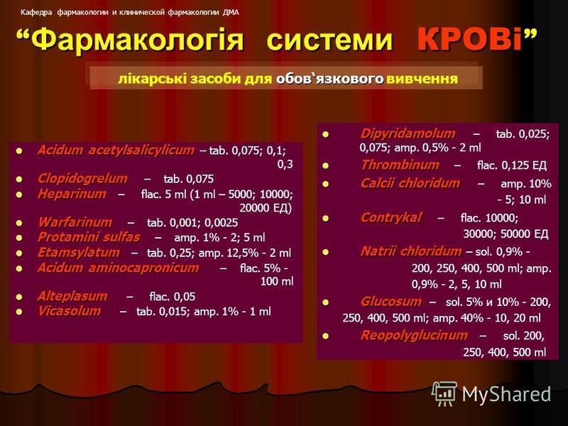 Acidum acetylsalicylicum Acidum acetylsalicylicum – tab. 0,075; 0,1; 0,3 Clopidogrelum Clopidogrelum – tab. 0,075 Нераrinum Нераrinum – flac. 5 ml (1 ml – 5000; 10000; 20000 ЕД) Warfarinum Warfarinum – tab. 0,001; 0,0025 Рrоtаmini sulfas Рrоtаmini su
