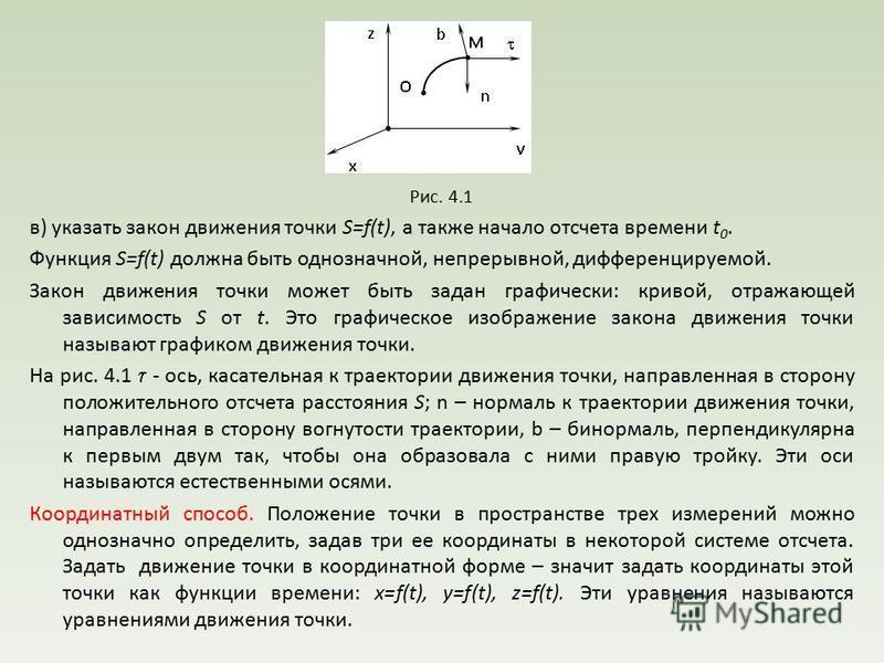 Рис. 4.1 в) указать закон движения точки S=f(t), а также начало отсчета времени t 0. Функция S=f(t) должна быть однозначной, непрерывной, дифференцируемой. Закон движения точки может быть задан графически: кривой, отражающей зависимость S от t. Это г