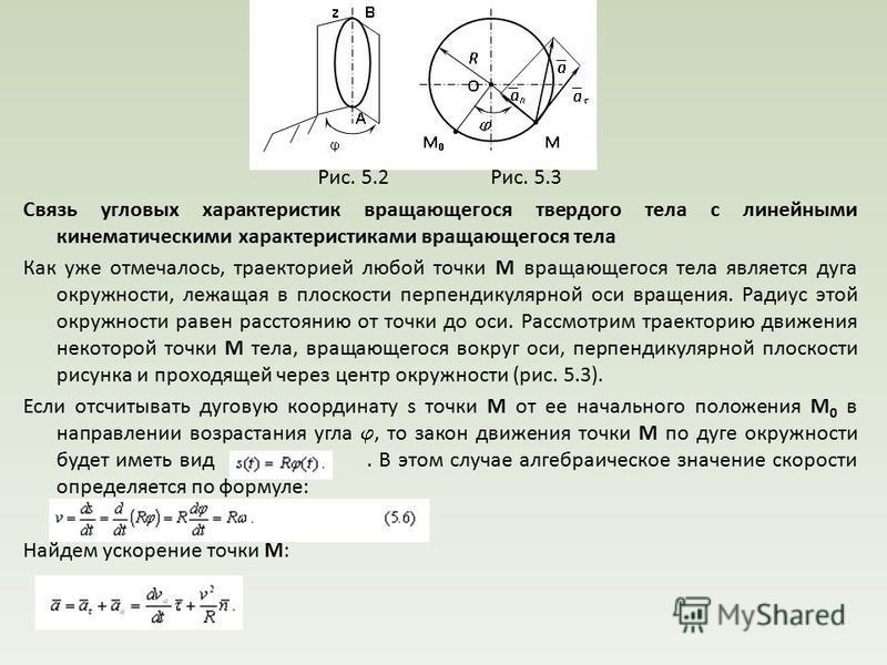 Рис. 5.2 Рис. 5.3 Связь угловых характеристик вращающегося твердого тела с линейными кинематическими характеристиками вращающегося тела Как уже отмечалось, траекторией любой точки М вращающегося тела является дуга окружности, лежащая в плоскости перп