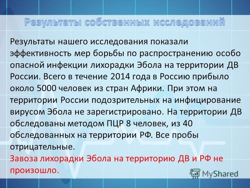 Результаты нашего исследования показали эффективность мер борьбы по распространению особо опасной инфекции лихорадки Эбола на территории ДВ России. Всего в течение 2014 года в Россию прибыло около 5000 человек из стран Африки. При этом на территории