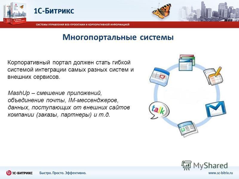 Корпоративный портал должен стать гибкой системой интеграции самых разных систем и внешних сервисов. Многопортальные системы MashUp – смешение приложений, объединение почты, IM-мессенджеров, данных, поступающих от внешних сайтов компании (заказы, пар