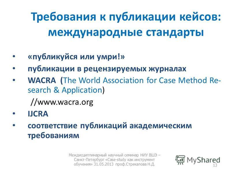 Требования к публикации кейсов: международные стандарты «публикуйся или умри!» публикации в рецензируемых журналах WACRA (The World Association for Case Method Re search & Application) //www.wacra.org IJCRA соответствие публикаций академическим треб