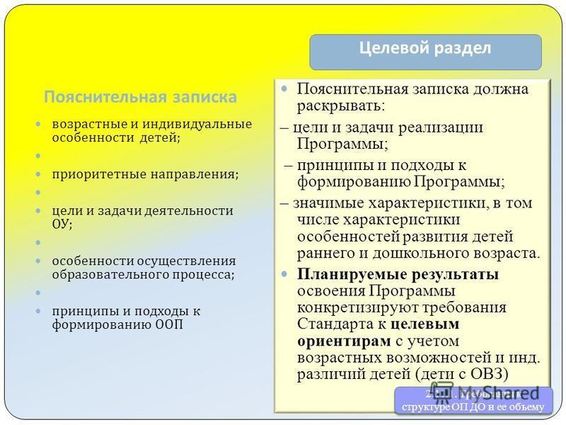 Пояснительная записка Целевой раздел возрастные и индивидуальные особенности детей ; приоритетные направления ; цели и задачи деятельности ОУ ; особенности осуществления образовательного процесса ; принципы и подходы к формированию ООП Пояснительная