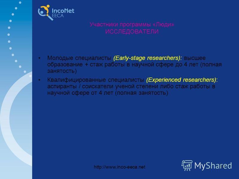 http://www.inco-eeca.net11 Участники программы «Люди» ИССЛЕДОВАТЕЛИ Молодые специалисты (Early-stage researchers): высшее образование + стаж работы в научной сфере до 4 лет (полная занятость) Квалифицированные специалисты (Experienced researchers): а