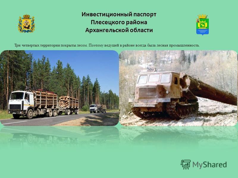 Инвестиционный паспорт Плесецкого района Архангельской области Три четвертых территории покрыты лесом. Поэтому ведущей в районе всегда была лесная промышленность.