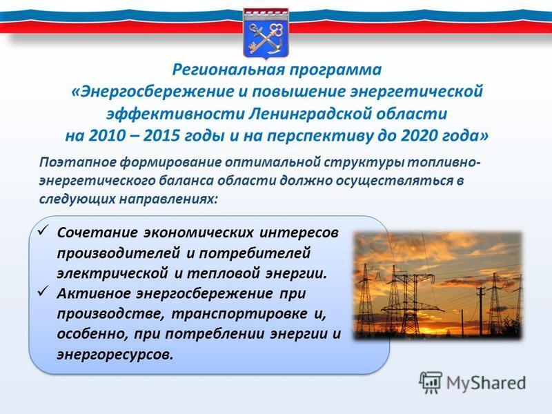 Региональная программа «Энергосбережение и повышение энергетической эффективности Ленинградской области на 2010 – 2015 годы и на перспективу до 2020 года» Сочетание экономических интересов производителей и потребителей электрической и тепловой энерги