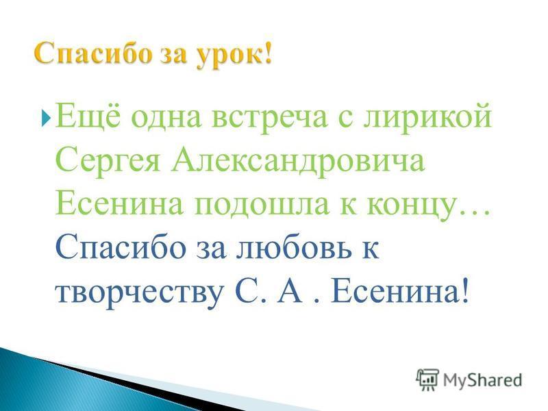 Ещё одна встреча с лирикой Сергея Александровича Есенина подошла к концу… Спасибо за любовь к творчеству С. А. Есенина!