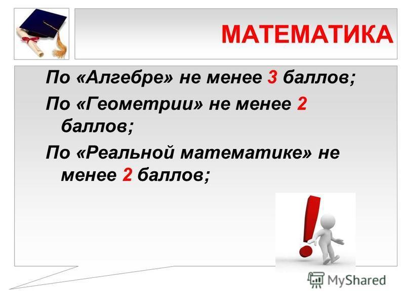 МАТЕМАТИКА По «Алгебре» не менее 3 баллов; По «Геометрии» не менее 2 баллов; По «Реальной математике» не менее 2 баллов;