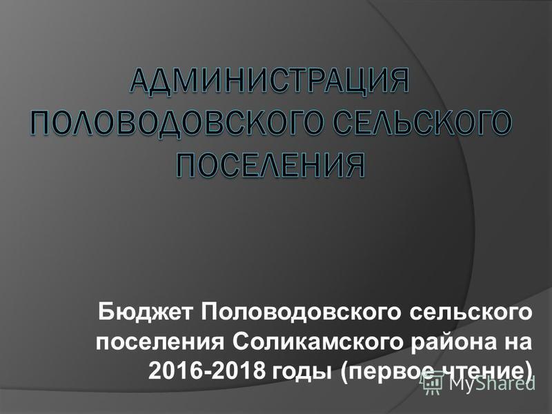 Бюджет Половодовского сельского поселения Соликамского района на 2016-2018 годы (первое чтение)