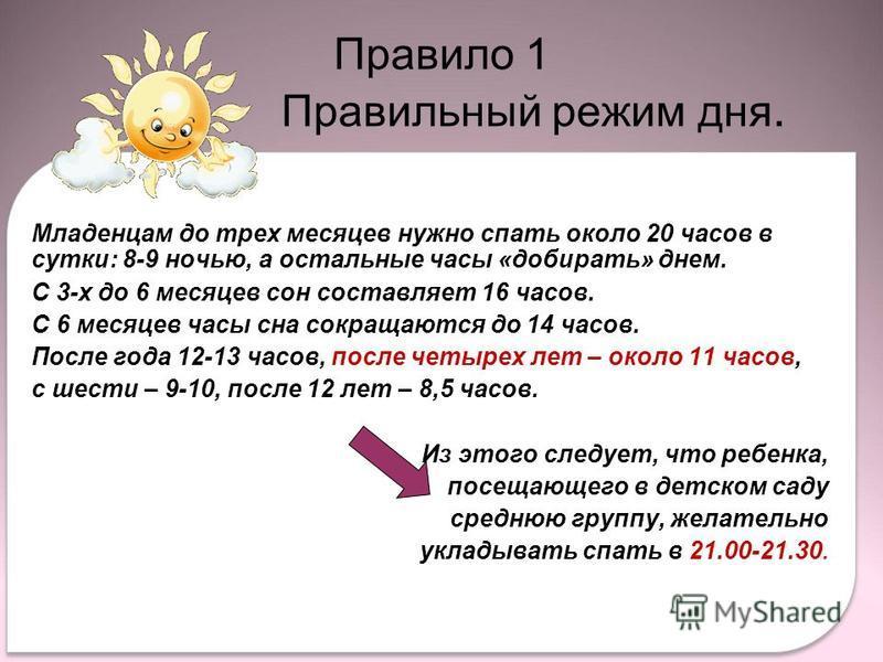 Младенцам до трех месяцев нужно спать около 20 часов в сутки: 8-9 ночью, а остальные часы «добирать» днем. С 3-х до 6 месяцев сон составляет 16 часов. С 6 месяцев часы сна сокращаются до 14 часов. После года 12-13 часов, после четырех лет – около 11