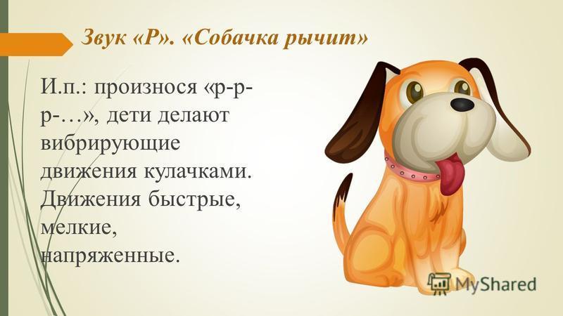 Звук «Р». «Собачка рычит» И.п.: произнося «р-р- р-…», дети делают вибрирующие движения кулачками. Движения быстрые, мелкие, напряженные.