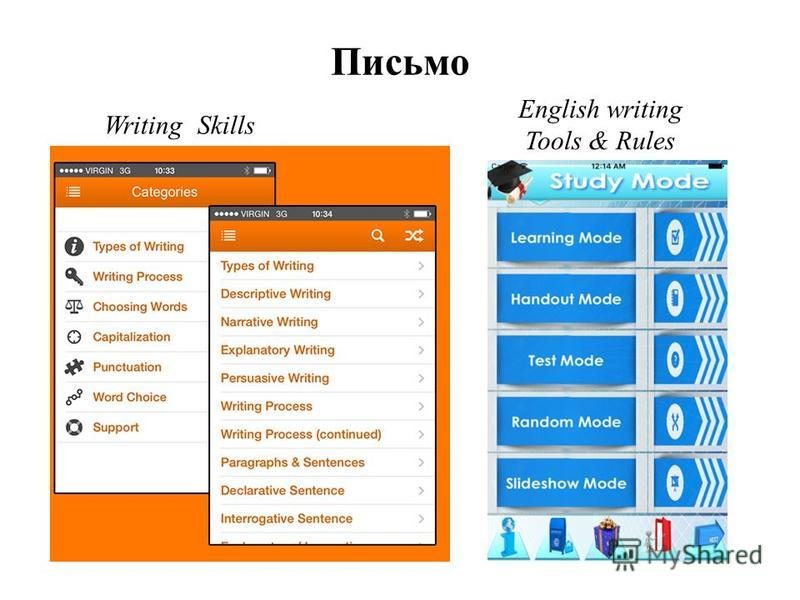 Writing Skills English writing Tools & Rules Письмо