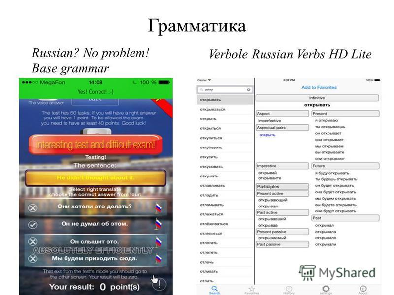 Russian? No problem! Base grammar Verbole Russian Verbs HD Lite Грамматика