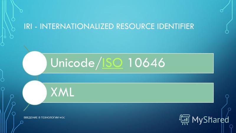 IRI - INTERNATIONALIZED RESOURCE IDENTIFIER Unicode/ISO 10646ISO XML ВВЕДЕНИЕ В ТЕХНОЛОГИИ W3C 14