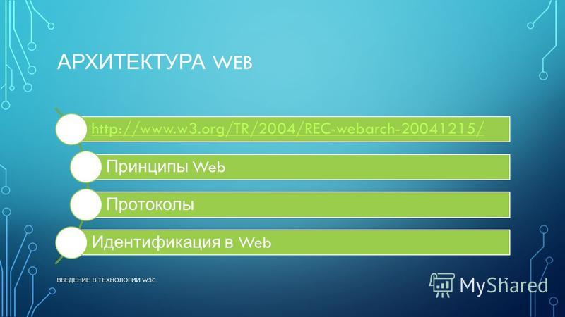 АРХИТЕКТУРА WEB http://www.w3.org/TR/2004/REC-webarch-20041215/ Принципы Web Протоколы Идентификация в Web ВВЕДЕНИЕ В ТЕХНОЛОГИИ W3C 7
