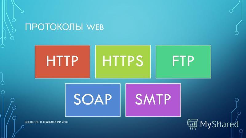 ПРОТОКОЛЫ WEB HTTPHTTPSFTP SOAPSMTP ВВЕДЕНИЕ В ТЕХНОЛОГИИ W3C 9